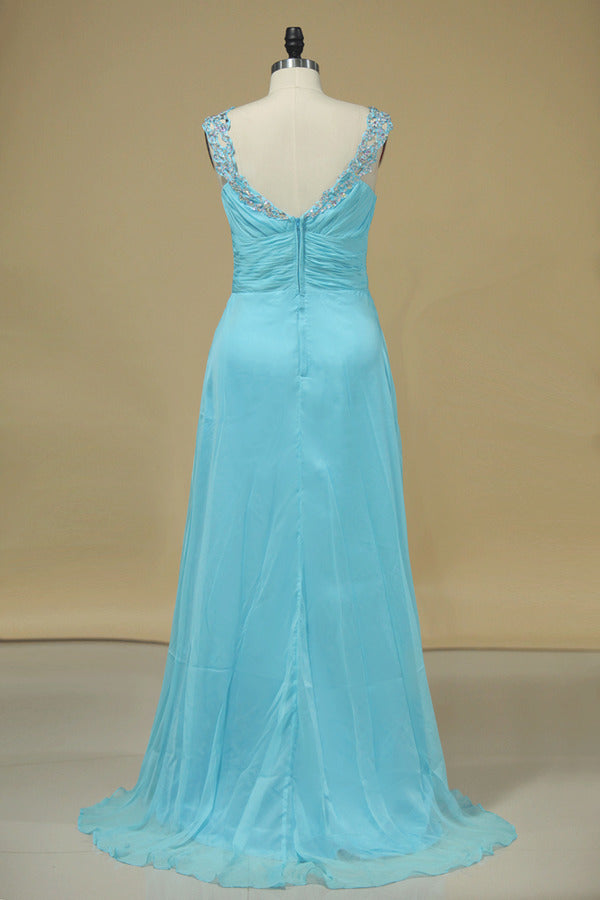 Chiffon Prom Dresses V Neck With Beading A Line Sweep PJNN6YCL