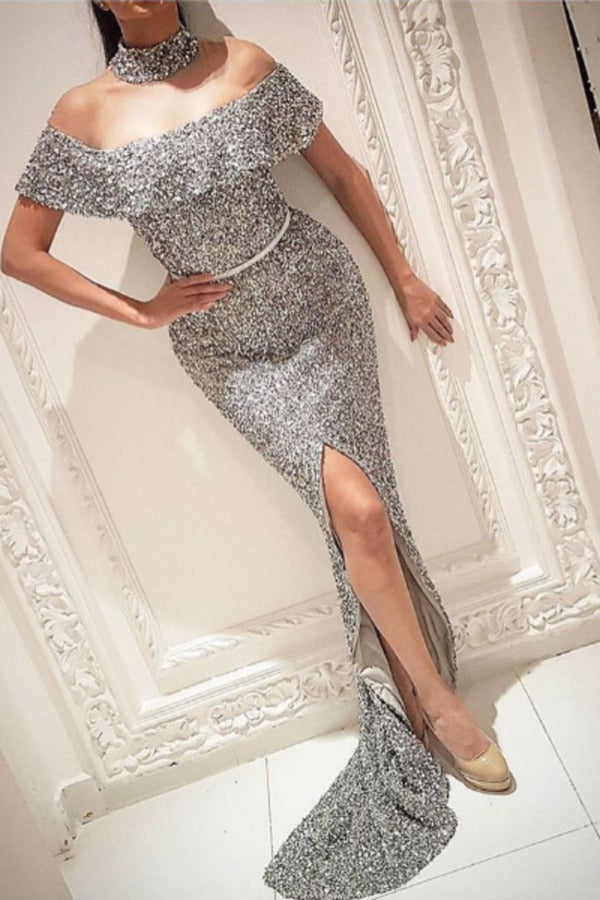 2020 Boat Neck Prom Dresses Mermaid Sequins With Sash P468A5D1