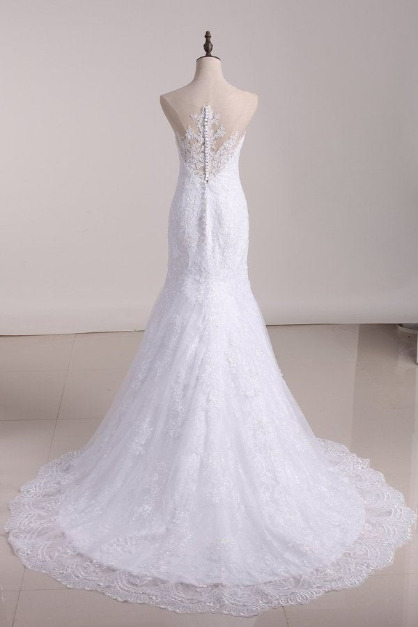 Court Train Scoop Mermaid Wedding Dresses Tulle With PD1FG9NZ