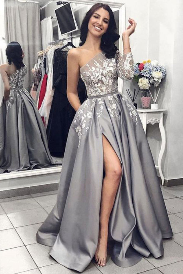 2020 Ball Gown One Shoulder Long Sleeves Grey Satin Split White Lace Long Prom Dresses With Pockets PX11J565