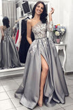 Ball Gown One Shoulder Long Sleeves Grey Satin Split White Lace Long Prom Dresses With Pockets PX11J565