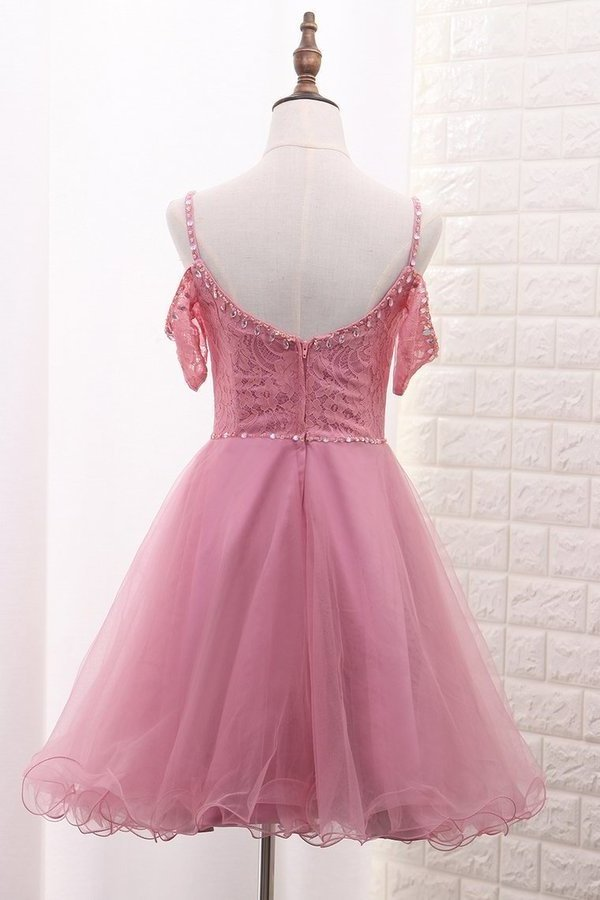 A Line Tulle & Lace Spaghetti Straps Homecoming Dresses PH8LYB3K