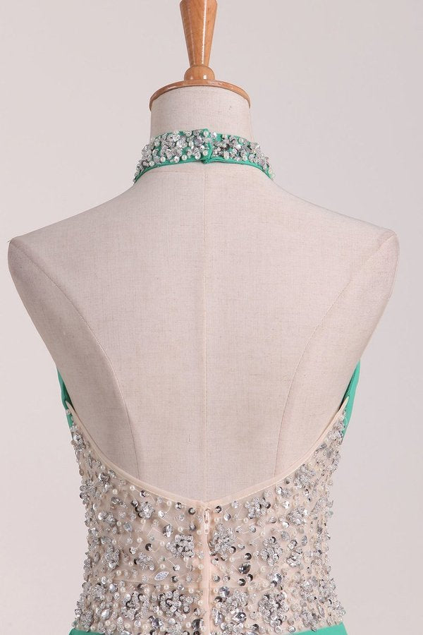 A Line Halter With Beading Chiffon Sweep Train Prom PNMRC27C