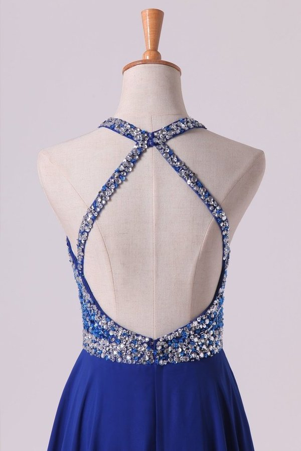 A Line Prom Dresses Halter Beaded Bodice Open Back Sweep Train Chiffon & Tulle Dark Royal P9Z9GFLD