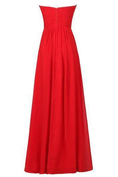 Sweetheart Bridesmaid Chiffon Prom Dress Long Evening Gown Blush