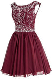 Short Beading Homecoming Chiffon V-back Prom Dresses