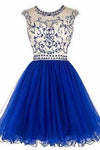 Short Beading Prom Dress Tulle Scoop Cap Sleeve Royal Blue Evening Dress Hollow Back