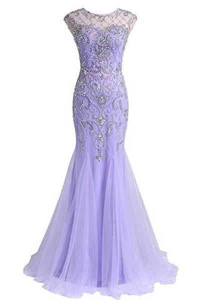 Prom Dresses A Line Beaded Bodice Open Back Party Dresses