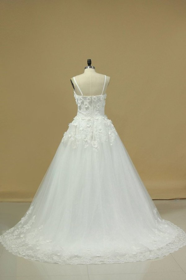 A Line Spaghetti Straps Court Train Wedding Dresses Tulle With Applique And Handmade PNPCN3JZ
