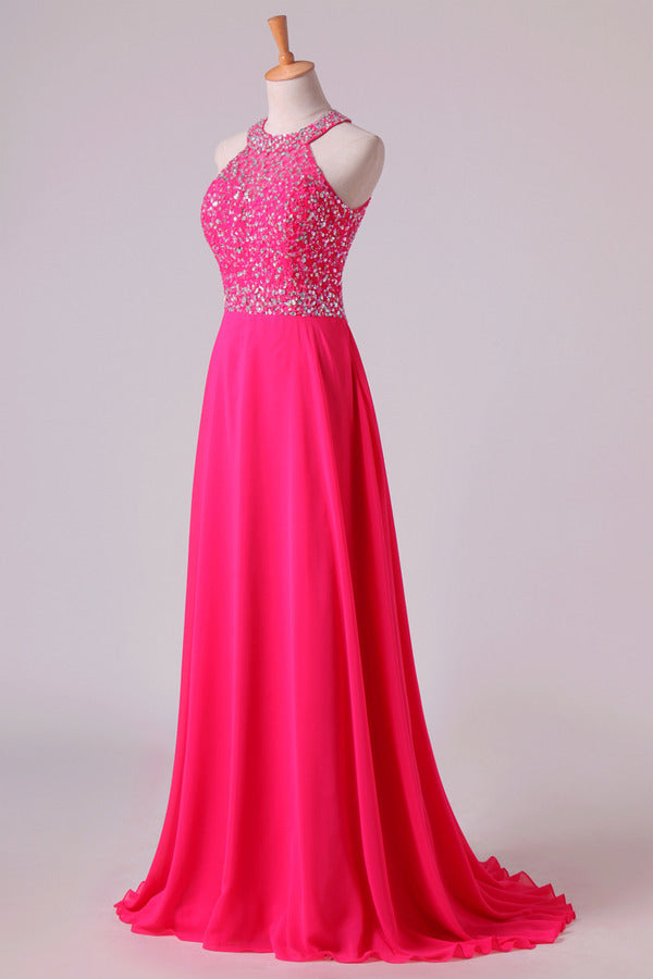Halter Prom Dresses Beaded Bodice Open Back A Line Chiffon & Tulle Sweep P6E45E5T