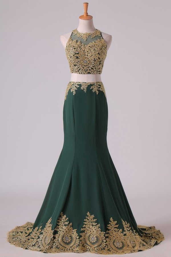Dark Green Mermaid Two-Piece Prom Dresses Scoop Sweep/Brush Chiffon With Gold P4R9BQRH