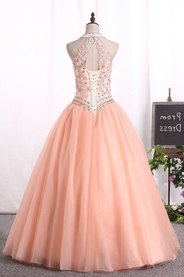 Ball Gown High Neck Quinceanera Dresses Tulle With Applique PJ8HSBGN