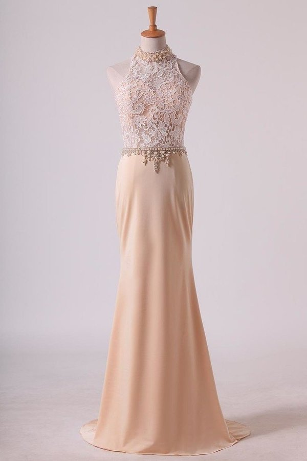 High Neck Prom Dresses Sheath Lace & Spandex Sweep P6RRNRD5