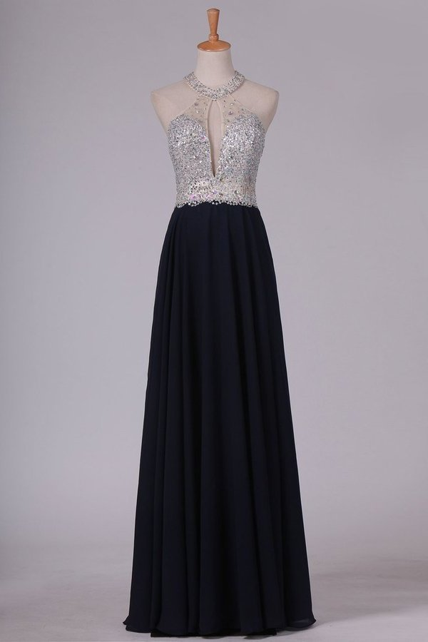 Chiffon Prom Dresses Floor Length Halter A Line With Beads Open P8J1QARA