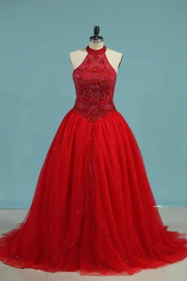 High Neck Quinceanera Dresses Ball Gown With Beading PG871NXB