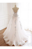 Beaded Spaghetti Strap Illusion V Neckline Wedding Dress With Colorful STGPH7CQTB3
