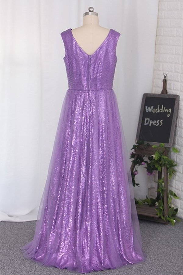 Floor Length Bridesmaid Dresses Sequins & Tulle V Neck PXYZ7DDM
