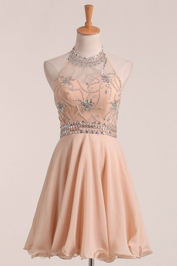 Chiffon&Tulle Halter A Line Homecoming Dress Beaded Bodice PRP8AET8