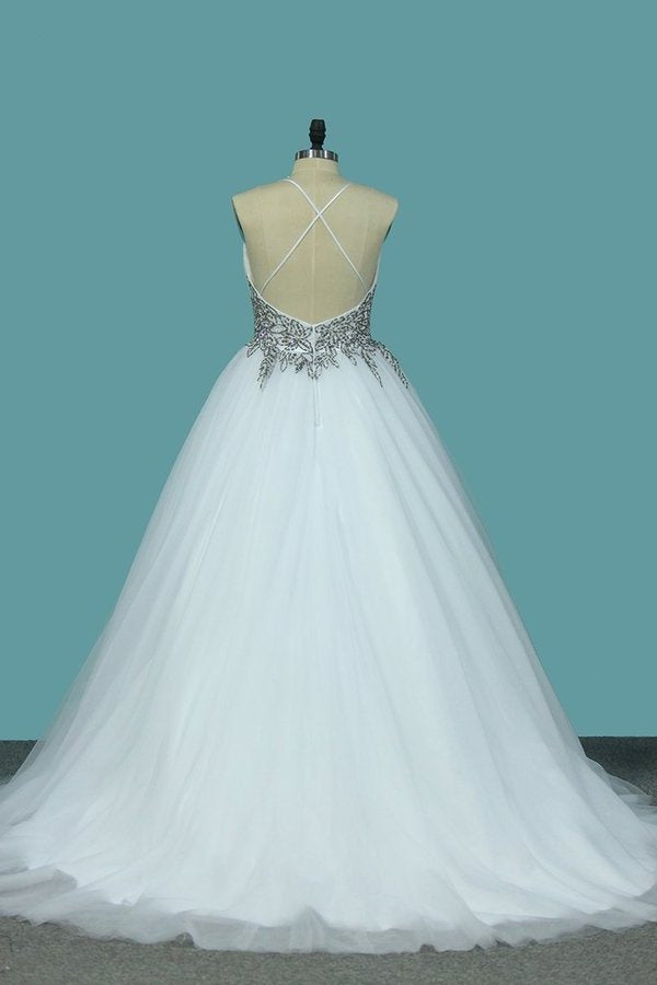 A Line Spaghetti Straps Wedding Dresses Tulle With Beads PBFGXH5D