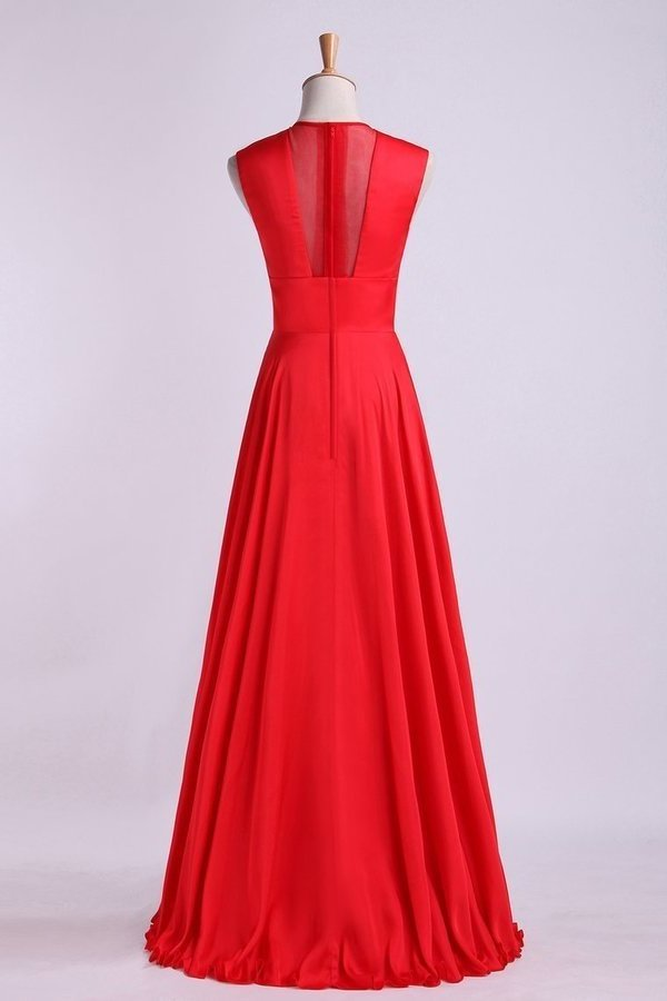 2020 Beautiful V-Neck Prom Dresses A-Line Chiffon PT3G8H6J