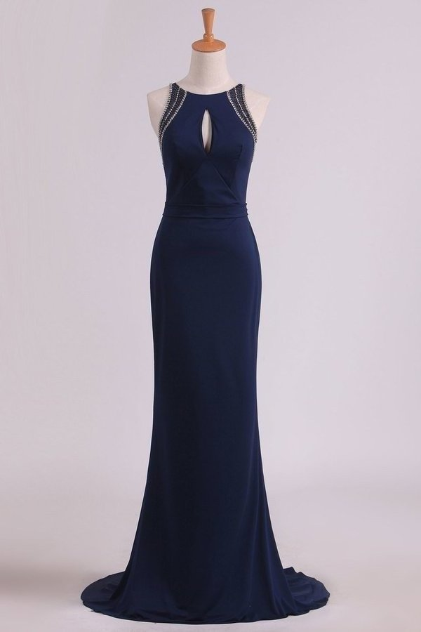 Spandex Scoop With Beading Sheath Evening Dresses Open Back P8Q9B65F