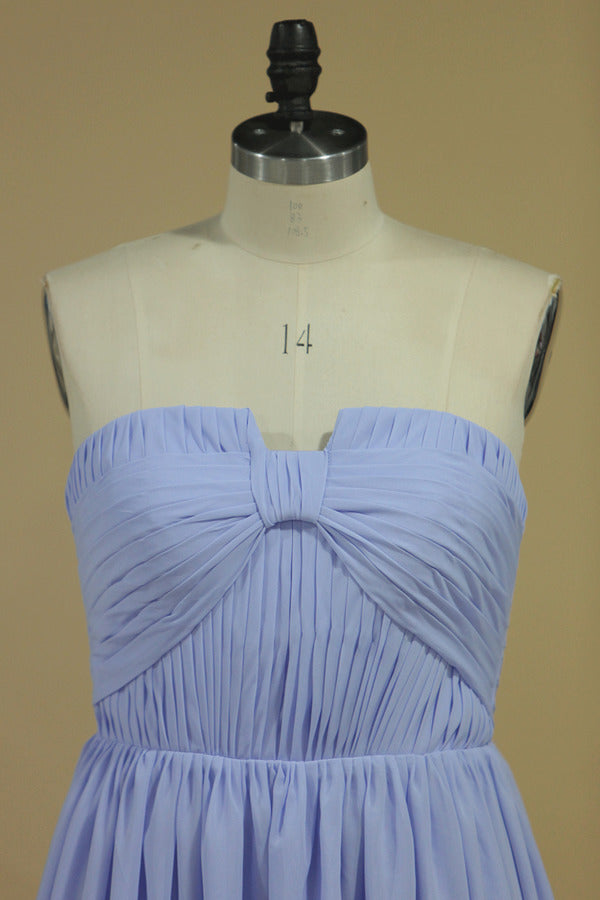 Chiffon Strapless Prom Dresses A Line With Slit And PNQLLLS1