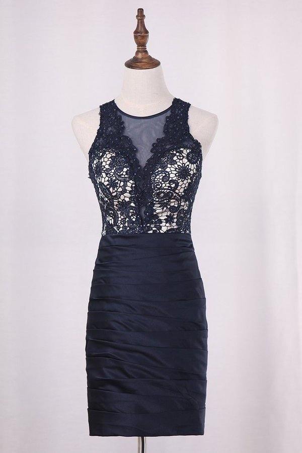 2020 New Arrival Homecoming Dresses Scoop Sheath Lace & Satin PMDCL7H7