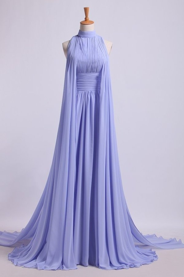 High Neck Pleated Bodice Prom Dresses A-Line Chiffon Sweep PNL6RX7T