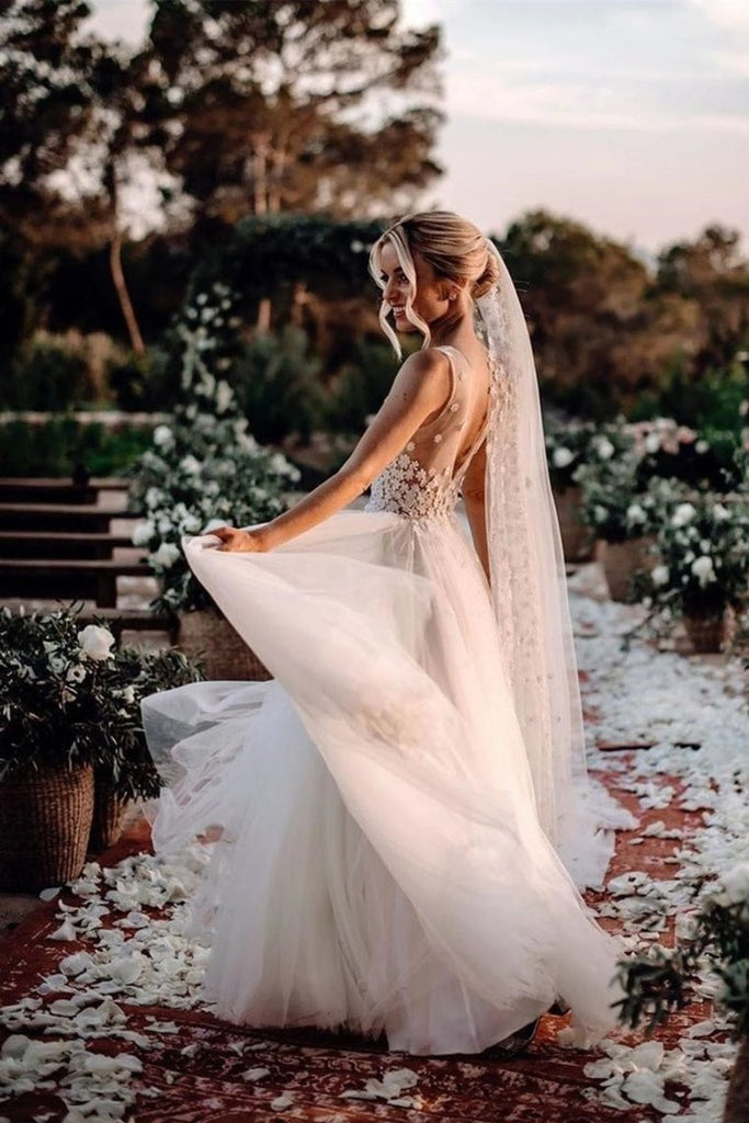 Elegant A Line V Neck Tulle Wedding Dresses With Flowers V Back Beach Wedding STGPEKH2P28