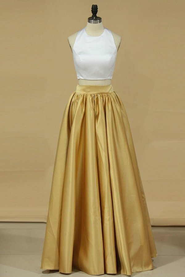2020 Bicolor Two-Piece Halter A Line Prom Dresses Satin PX9L4MHG