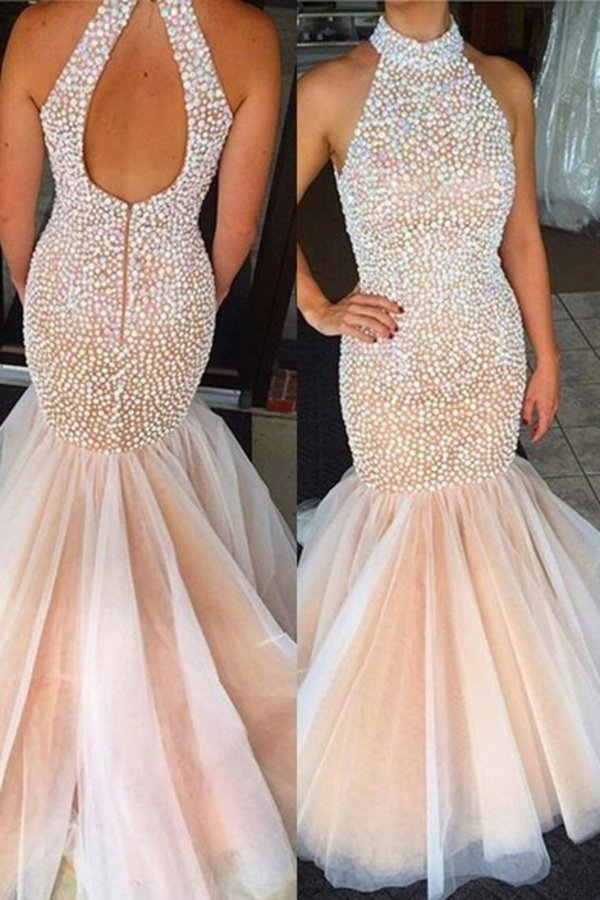 High Neck Prom Dresses Mermaid/Trumpet With Beading Tulle Zipper PZEJ7FSN