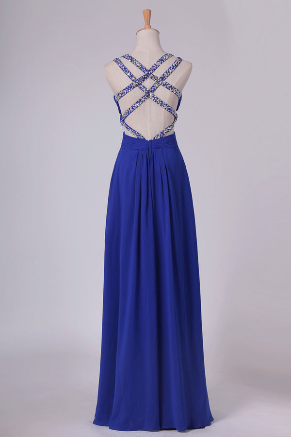 2020 A Line Prom Dresses Spaghetti Straps Chiffon With Ruffles And Beads Open P7AARKBF