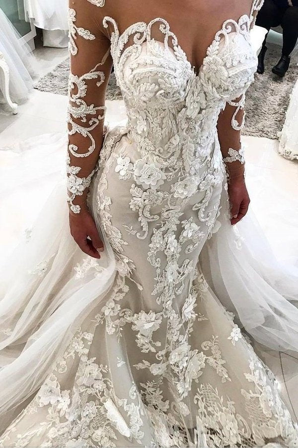 Detachable Train Long Sleeves Scoop Mermaid Wedding Dresses With PDY72H98