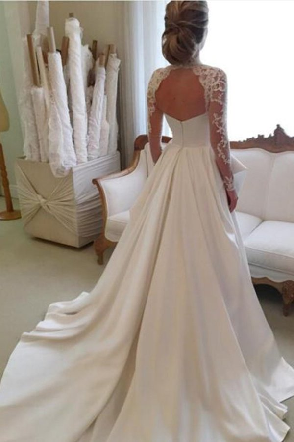High Neck Open Back Long Sleeves Wedding Dresses A PH8YCATA