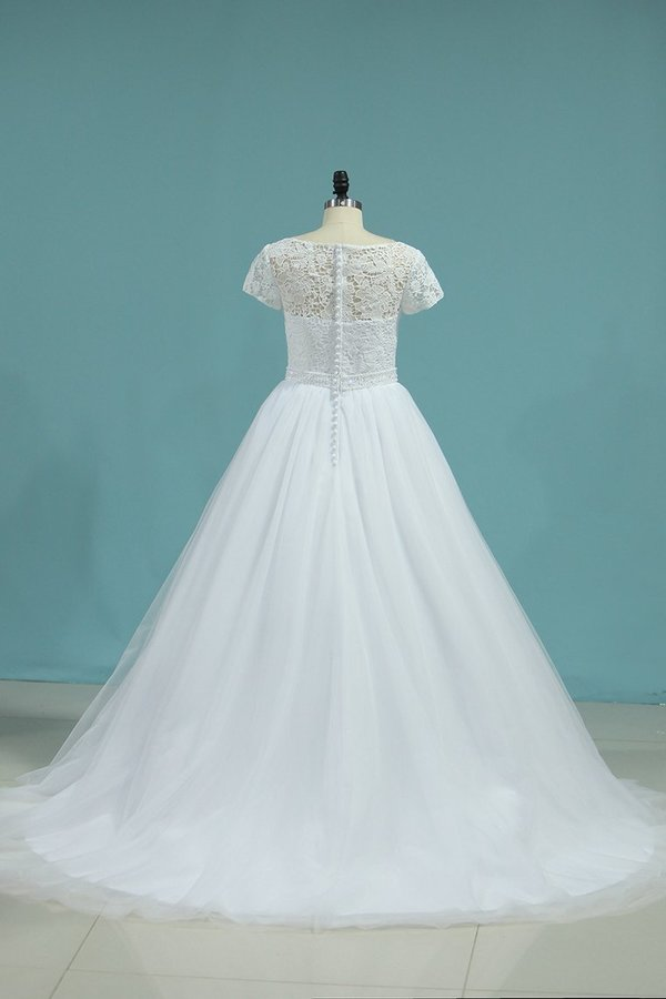 Bateau Wedding Dresses A-Line Tulle Cap Sleeves Zipper Back PB6AFE11