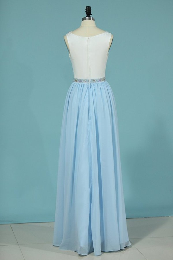 2020 A Line Scoop Prom Dresses Chiffon With Beads P8AQC4KT