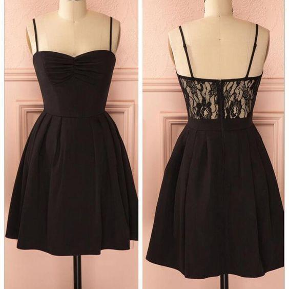 Spaghetti strap black simple lace cheap sexy homecoming prom dress