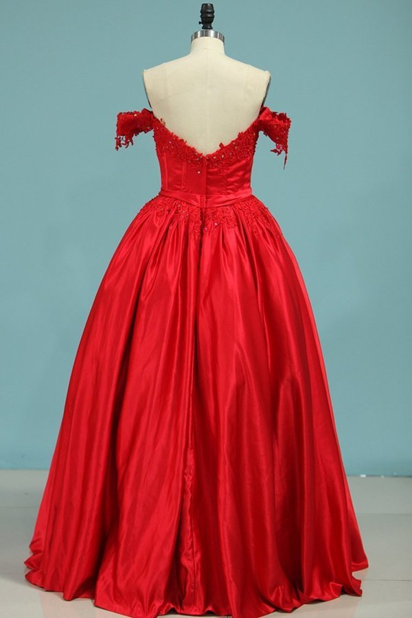 Ball Gown Off-The-Shoulder Satin With Applique Color Red P9F12333