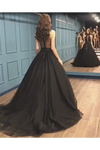 Sexy Ball Gown High Neck Black Tulle V Neck Sequins Party Dresses Prom STGPQC2HNL1