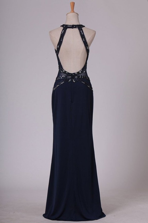 Black Prom Dresses Scoop Sheath With Beading Open Back PXASC233