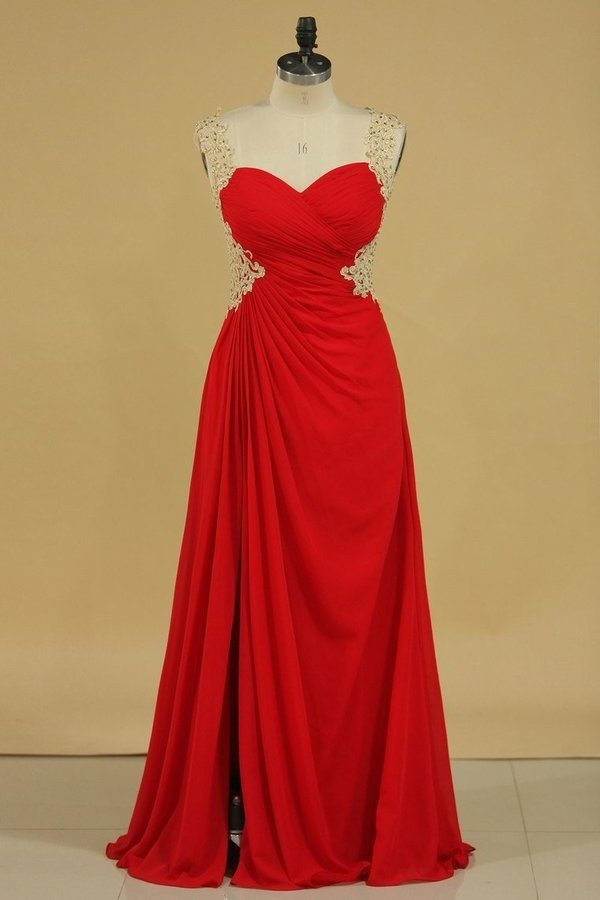 2020 A Line Prom Dresses Straps Chiffon With Applique And Beads Open P19BQKMS