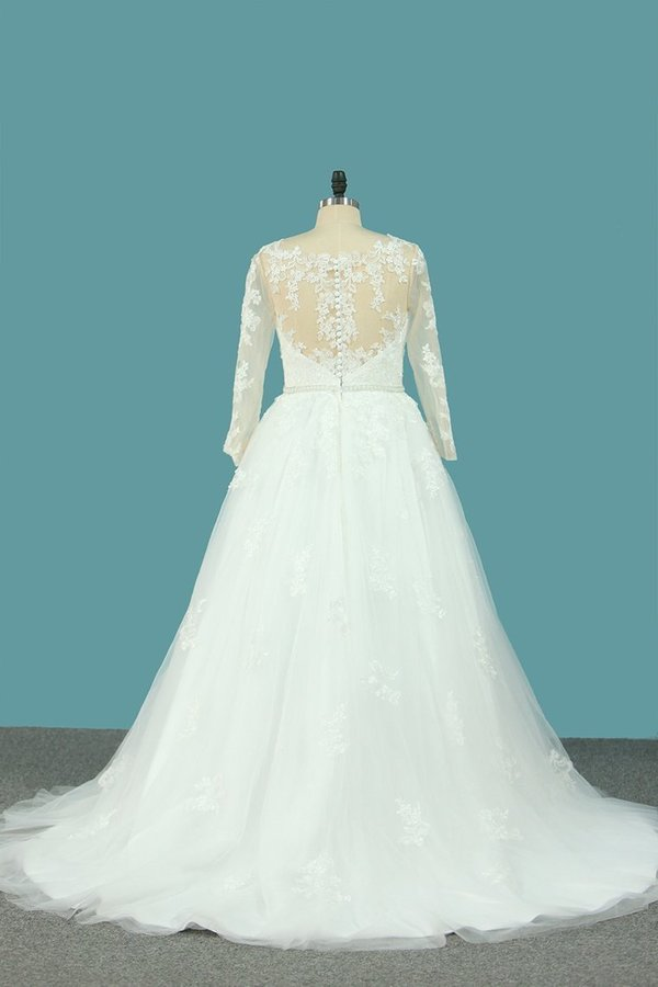 Tulle V Neck Long Sleeves Wedding Dresses With Applique And Beads PDQ6Z4KG