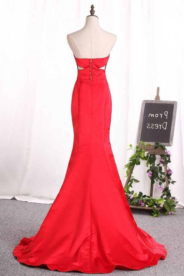 Sweetheart Evening Dresses Mermaid Satin Ruched P7F9XKL1
