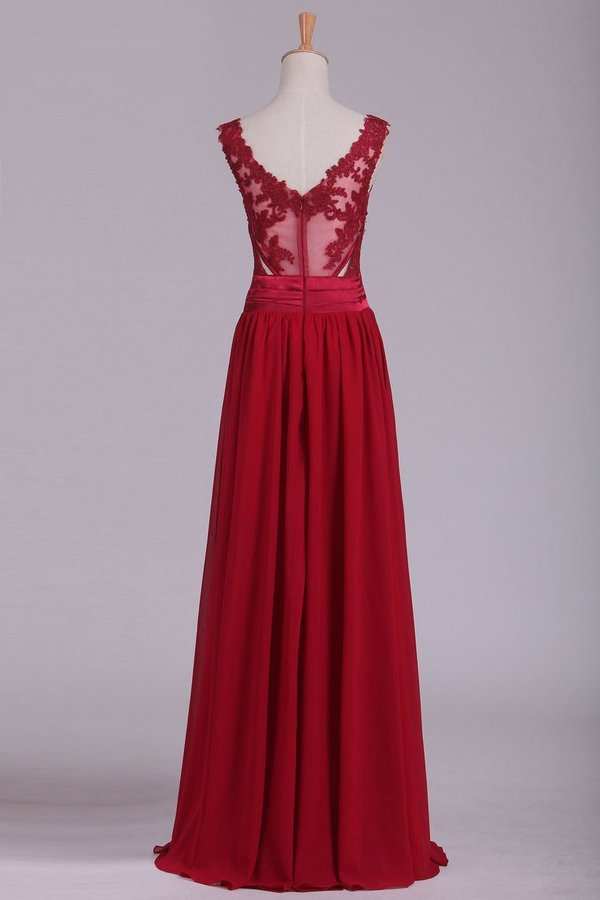 Burgundy V-Neck Prom Dresses A Line Chiffon With PKBE6KP2