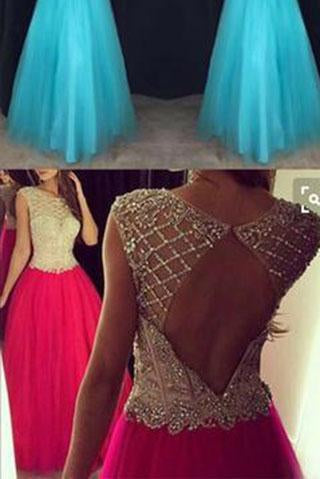Pd61128 Charming Scoop Tulle Cap Sleeve Open Back High Neck Beads Long Prom Dresses