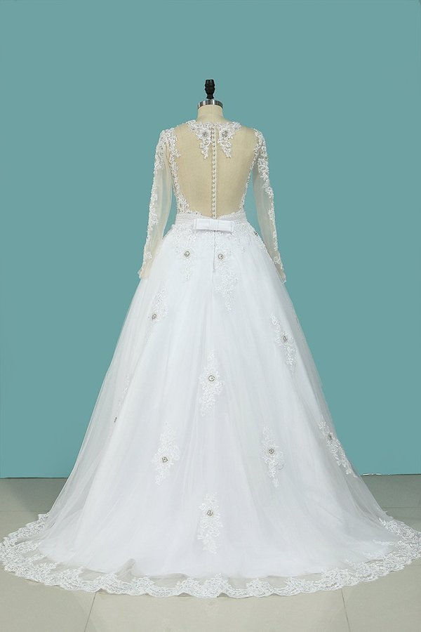 2020 A Line Scoop Wedding Dresses Long Sleeves Tulle With Applique & Beading Detachable Skirt PXY9RK7C