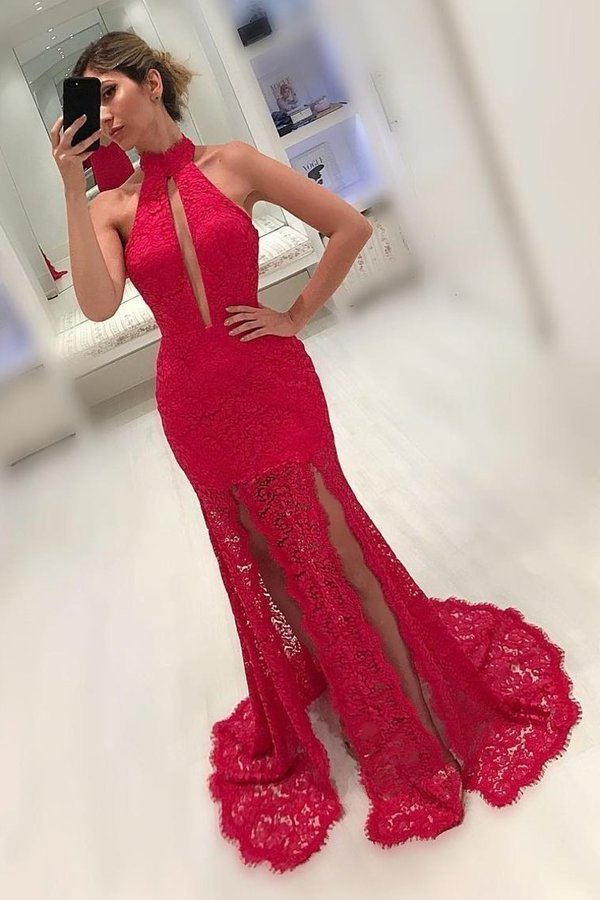 High Neck Lace Mermaid Prom Dresses With Slit P5BXDFYF