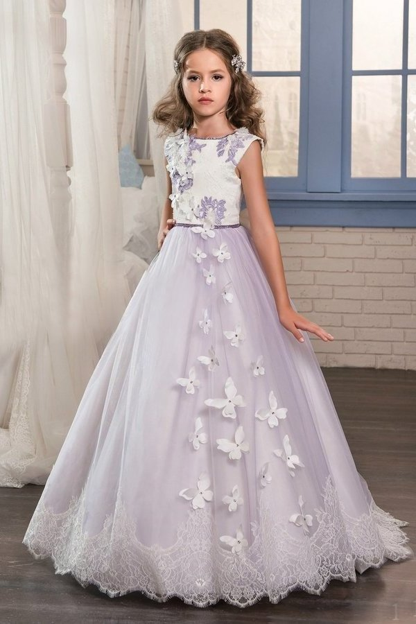 Flower Girl Dresses A Line Scoop Tulle With Applique And P89BG8F8