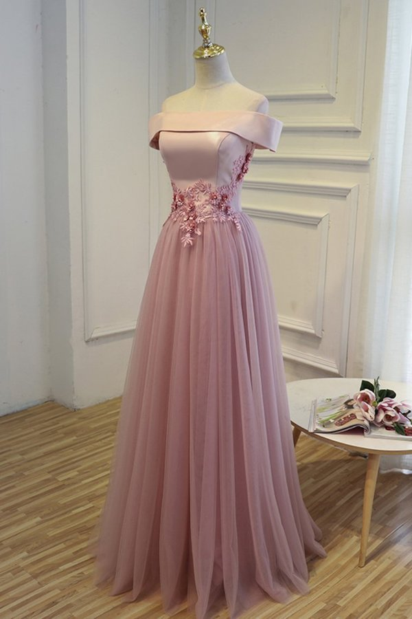Boat Neck Tulle With Applique Prom Dresses A Line P51Z8TLP