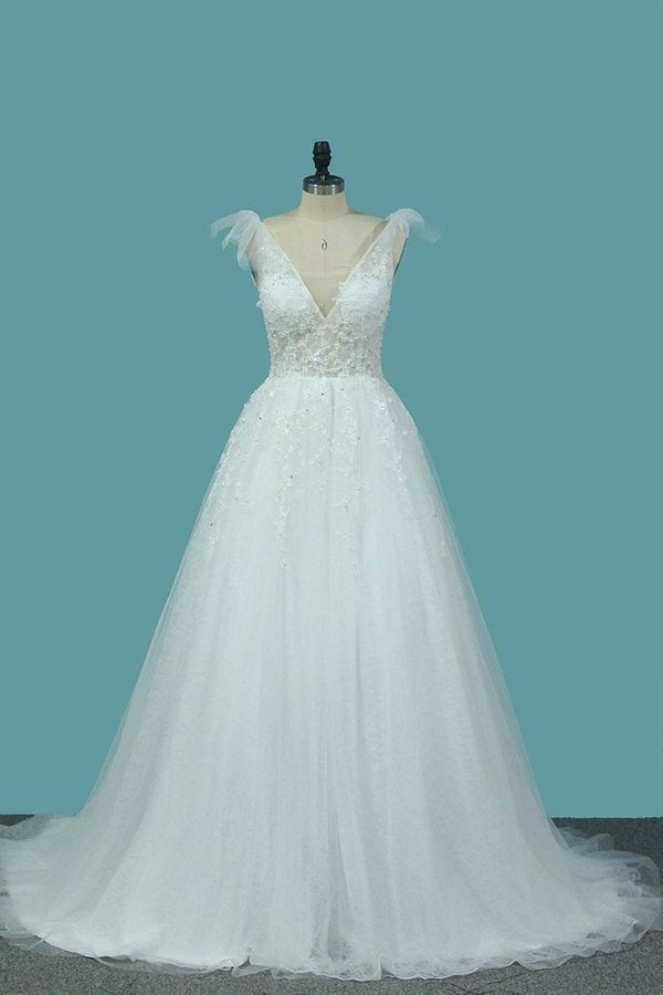 2020 A Line Spaghetti Straps Wedding Dresses Tulle & Lace With Applique P7DNS6EG